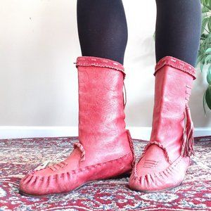 Red Leather Moccasins Boots | 7 made in Italy